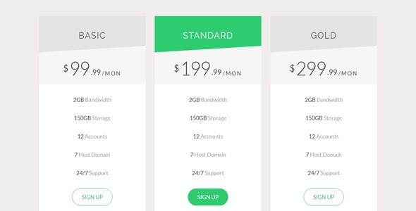 Responsive Bootstrap Pricing Table