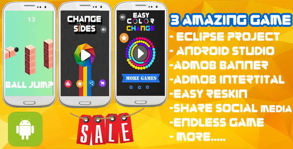 3 Amazing Game - Eclipse & Android Studio + Admob Ads + Endless Game +Share + Review