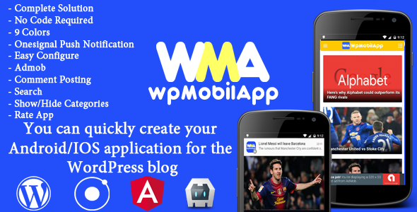 WpMobilApp - Full  Application Android & iOS Mobile for Wordpress Website