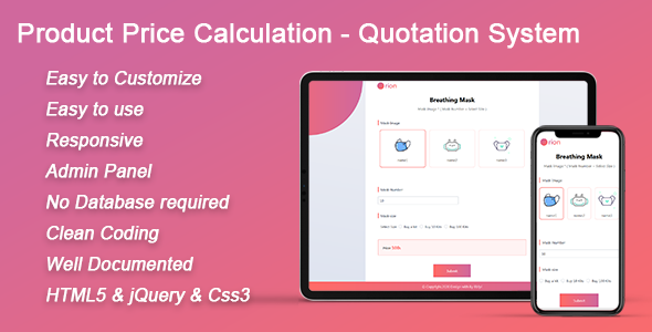 Orion - HTML5 & PHP Product Price Calculation - Quotation System(PC & Mobile)