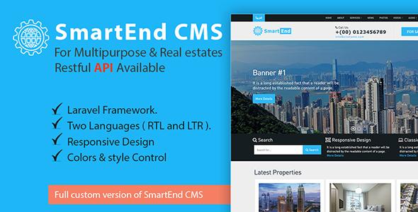 SmartEnd CMS for multipurpose & real estate with Restful API