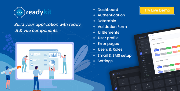 ReadyKit -  Admin & User Dashboard Templates (with functionality) for Laravel + Vue App Development