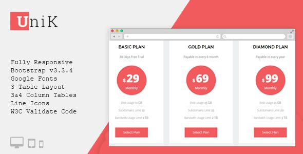 Unik - CSS3 Responsive Pricing Table