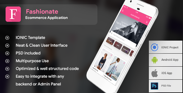 Fashion Ecommerce Android App + Online Shopping iOS App Template (HTML + CSS IONIC 3)   Fashionate