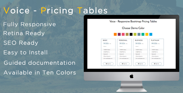 Voice - Responsive Bootstrap Pricing Tables