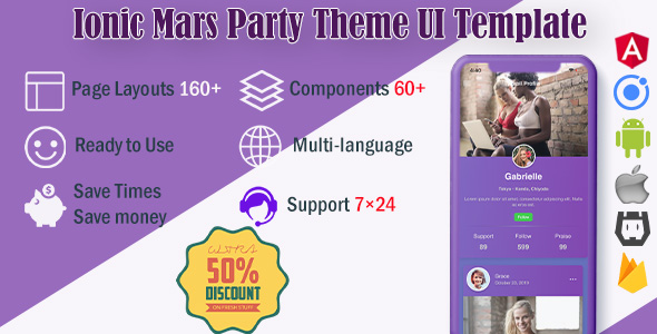 Mars Party | Ionic 4  UI Theme / Template App | Starter App