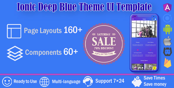 Deep Blue /Ionic 4 / Angular 8 UI Theme / Template App   Starter App