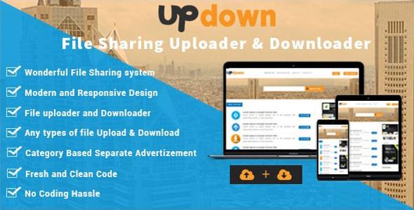UpDown - File Sharing Uploader / Youtube / Downloader & Blogging