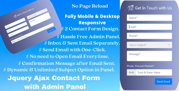 Ajax Contact Us Form with Admin Panel