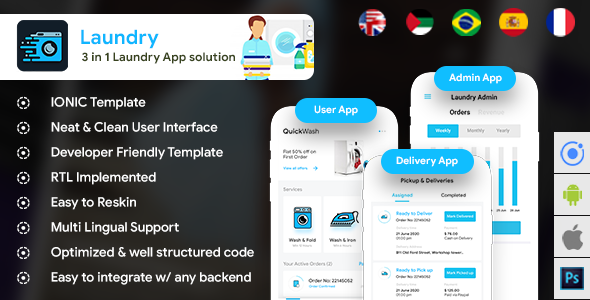 Laundry Android App + Laundry iOS App Template  3 Apps   (HTML+CSS files IONIC 3) Quickwash