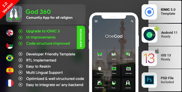 Community Android App + Community iOS App Template | HTML + Css IONIC 5 | OneGod