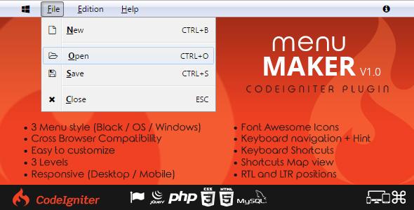 Menu Maker - Codeigniter Plugin