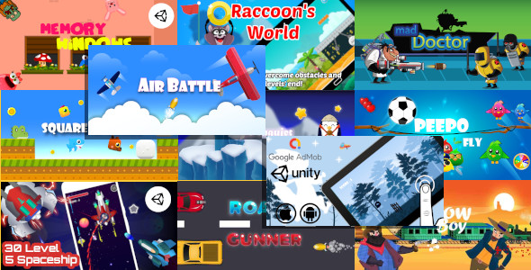 11 Unity Games in 1 Bundle with 55% OFF | Shooter and Casual Unity Projects for Android and iOS