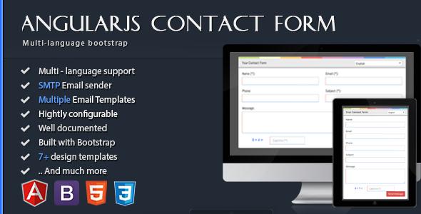 AngularJS Contact Form - HTML5 Bootstrap Multi-language