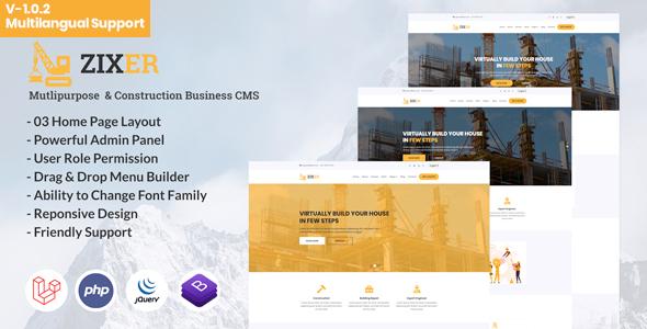 Zixer - Multipurpose Website & Construction Business Company CMS