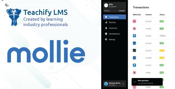Mollie Payment Gateway for Teachify LMS