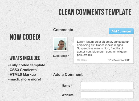 Clean Comment Template Coded