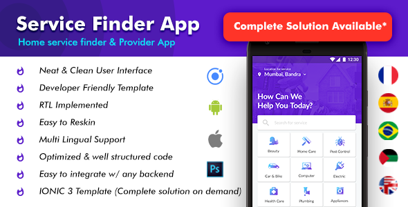 Home Service Finder| Provider| Booking Android + iOS App Template |2 Apps| HTML+CSS IONIC 3 Handyman