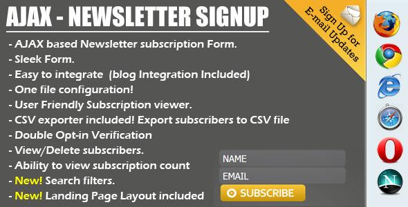 Ajax Newsletter Signup - PHP Admin & CSV export