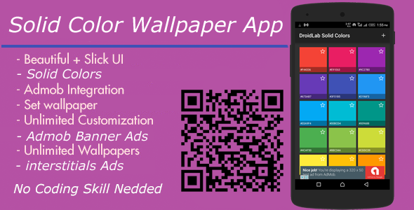 Solid Colors Wallpaper App + Admob interstitial And Banner Ads