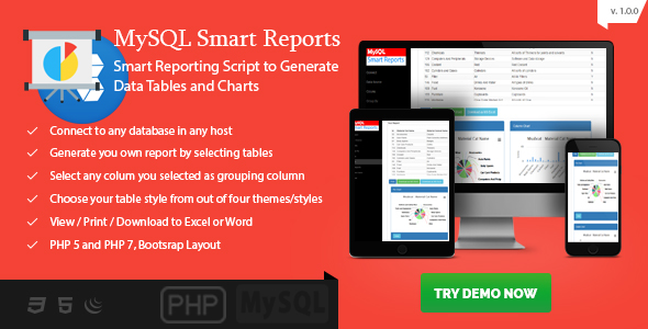 MySQL Smart Reports - Online Report Generator with Existing Data.