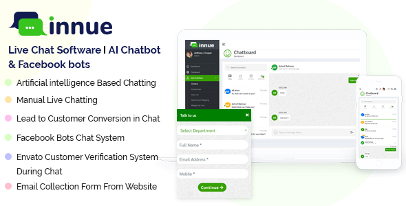 Innue - Live Chat Software   AI Chatbot with Facebook and Dialogflow bot