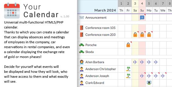 Your Calendar - Universal multi-functional calendar. Team