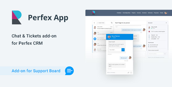 Perfex CRM Chat & Tickets App for Support Board