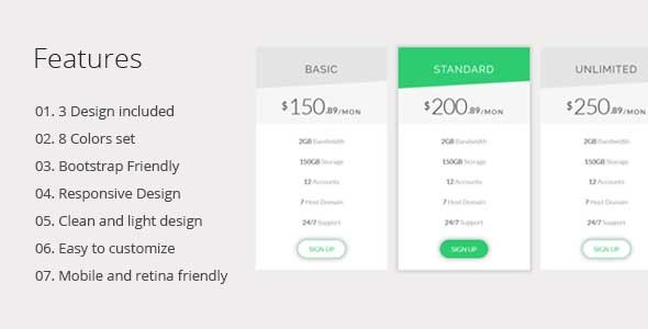 Generic Pricing Table