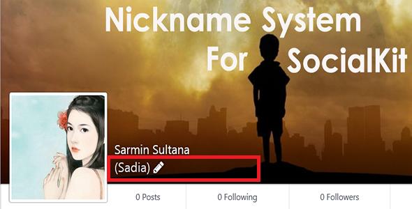 Nickname System Like Facebook For SocialKit