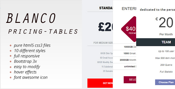 Blanco Pricing Tables