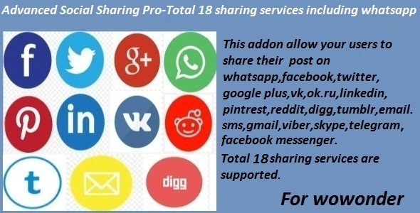 Advanced Social Sharing Pro For WoWonder