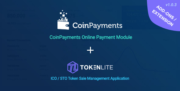 CoinPayments Pay Module for TokenLite - Online Crypto Payment Addon