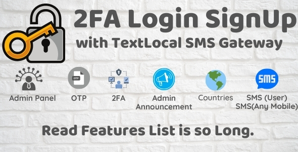2FA Login SignUp Via TextLocal SMS and Admin Panel