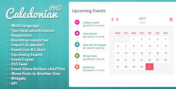 Caledonian PRO PHP Event Calendar