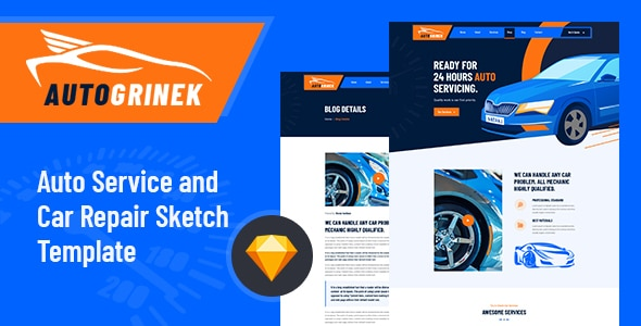 Autogrinek - Auto Service and Car Repair Sketch Template