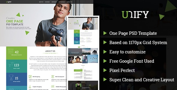 Unify OnePage PSD Template