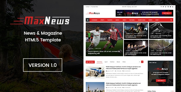 MaxNews   News & Magazine HTML Template