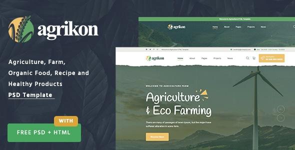 Agrikon - PSD Template For Agriculture Farm & Farmers