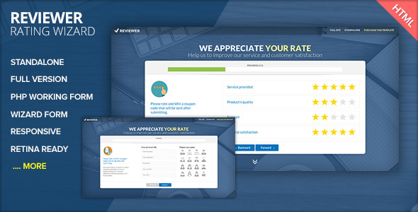 REVIEWER - Rating and Review Wizard HTML Template