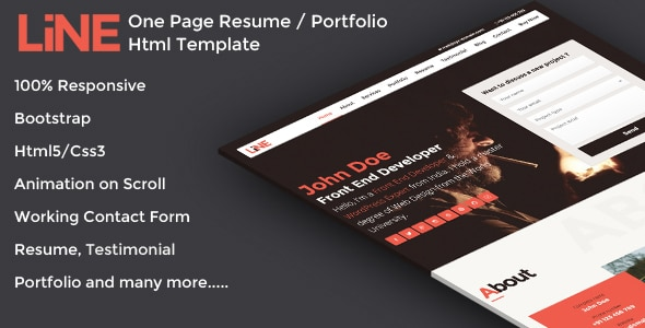 Line - One Page Resume / Portfolio Html Template