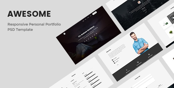 Awesome - Responsive Personal Portfolio PSD Template