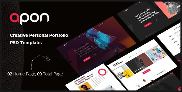 Apon - Minimal Personal Portfolio Adobe XD Template