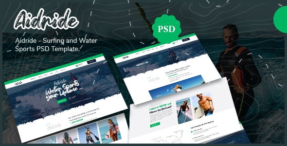 Aidride - Surfing and Water Sports PSD Template