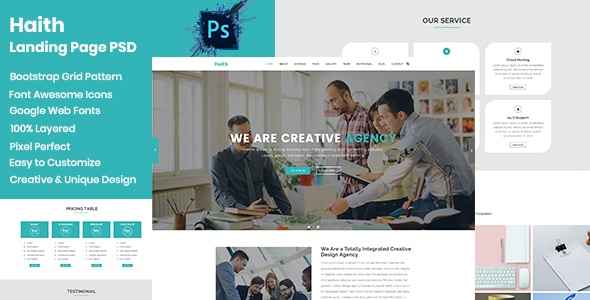 Haith || Landing Page PSD Template