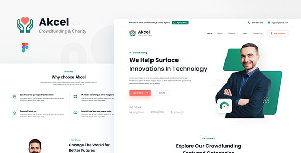 Akcel - Modern Crowdfunding and Charity Website Design Template Figma