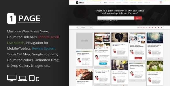 1Page - Masonry WordPress News / interesting links