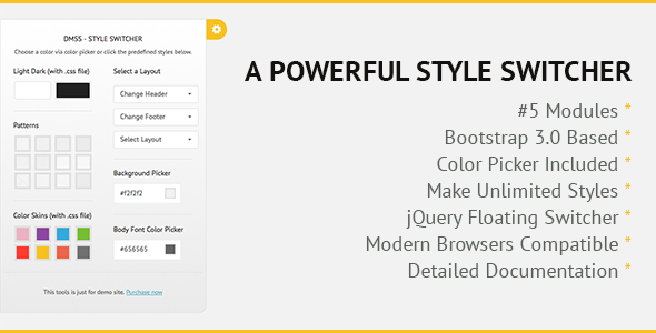 DMSS - Bootstrap jQuery Style Switcher