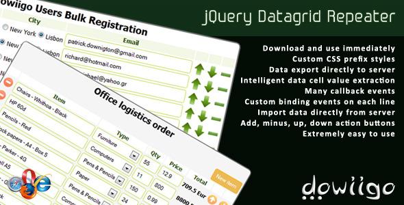 Datagrid Repeater - jQuery plugin