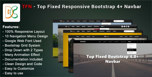 TFN - Top Fixed Bootstrap 4 Navbar